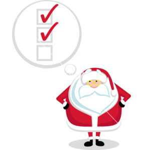 Cartoon Santa with thought bubble and chekboxes. Vector